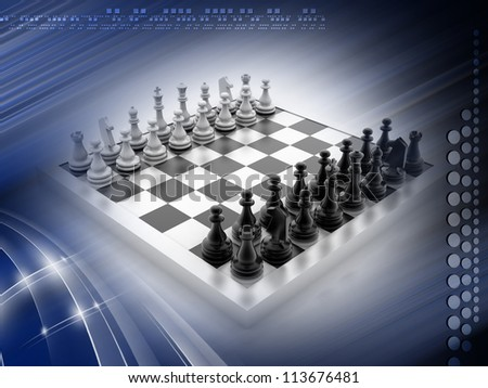 CHESS BOARD with figures isolated on white background - stock photo