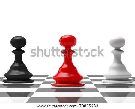 chess board with figures , Universal soldier - stock photo