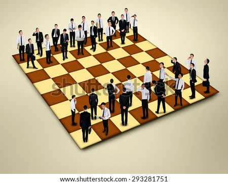 Chess board with many business people - stock photo