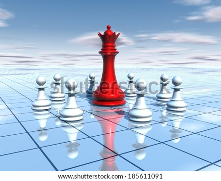 chess board with red chess queen and team of white pawns, blue sky and floor, teamwork, leadership abstract concept - stock photo
