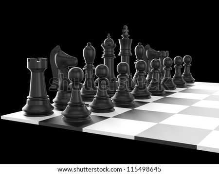 Chess board with starting positions aligned chess pieces, isolated on black background. - stock photo