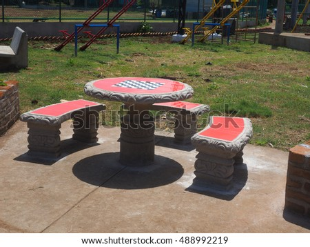 chess, checker-board table in new public park South End, Big Corn Island, Nicaragua, Central America