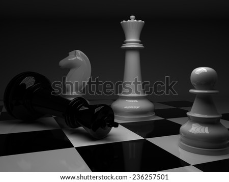 Chess. Checkmate white defeats black king. 3D render