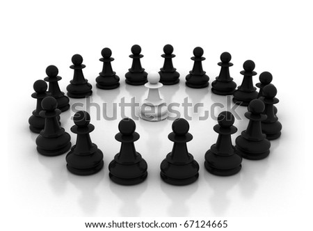 Chess circle single pawn surrounded - stock photo