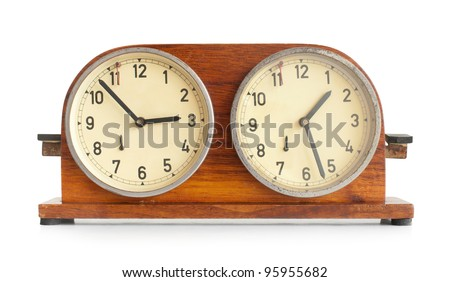 Chess clock on white background. - stock photo