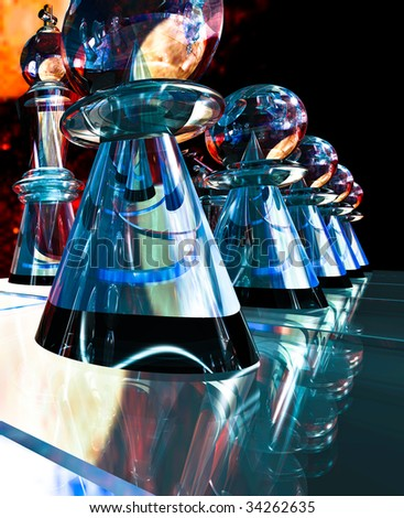 Chess, close up illustration of glass futuristic chess pawns on a glass game board, Queen in the background - stock photo