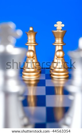 Chess combination from figures on a blue background