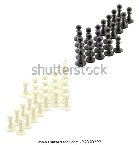 Chess, competition strategy: opposite arrows made of pawns isolated on white