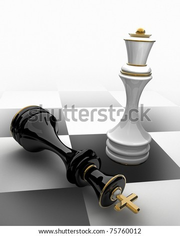 Chess concept image - checkmate 3D render - stock photo