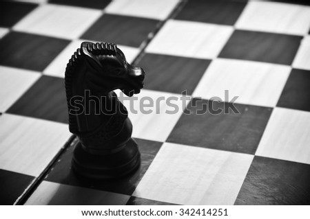 Chess concept in black and white - stock photo