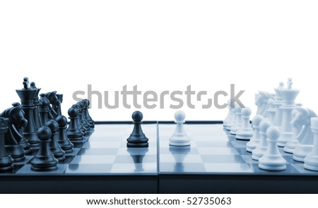 Chess. Desktop logic game. Blue color tone - stock photo