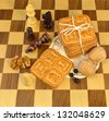 Chess fancy cookies with nuts - stock photo