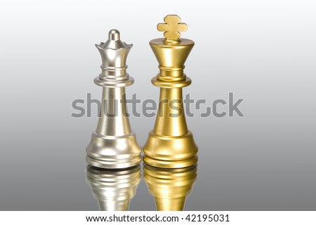 Chess figure and mirror on a grey background - stock photo