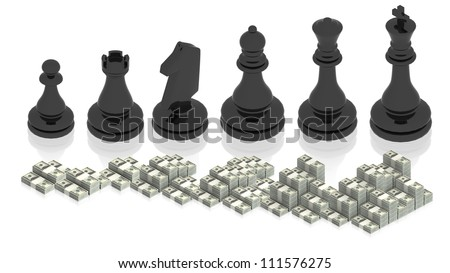 Chess figure with paper money - stock photo