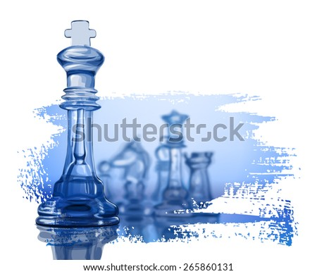 Chess figures, led by King on a blue background - stock photo