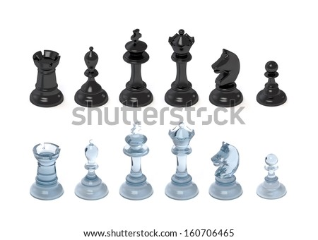 chess figures of glass plastic