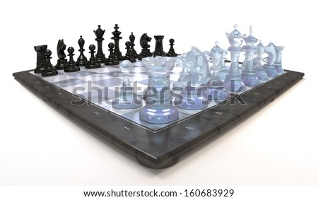 Chess figures of glass plastic onto chess board