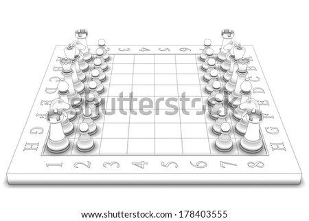 chess figures on board. isolated white background. 3d - stock photo