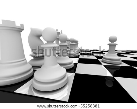 Chess. First steps. White chessmen on chessboard isolated on white background. High quality 3d render. - stock photo