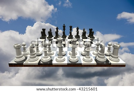 Chess game flowing freely in a blue sky