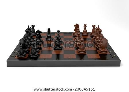 chess game in full swing - stock photo