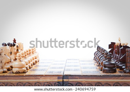 Chess Game lineup, white background, isolated, space for text,  - stock photo