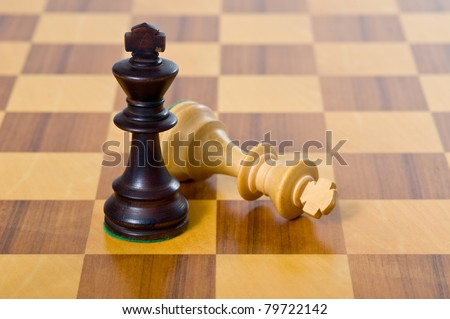 Chess game. White and black king challenging for victory.