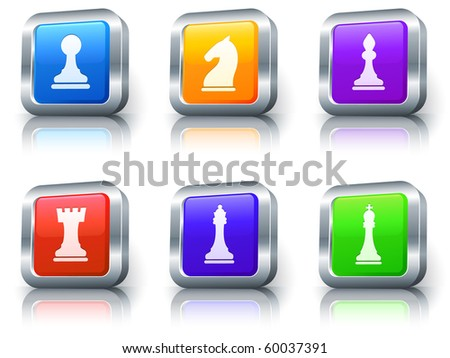 Chess Icons on Square Button with Metallic Rim Collection Original Illustration - stock photo