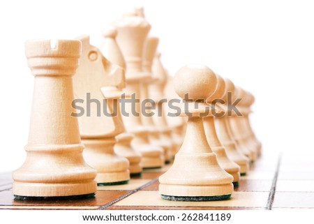 Chess isolated on white background. - stock photo