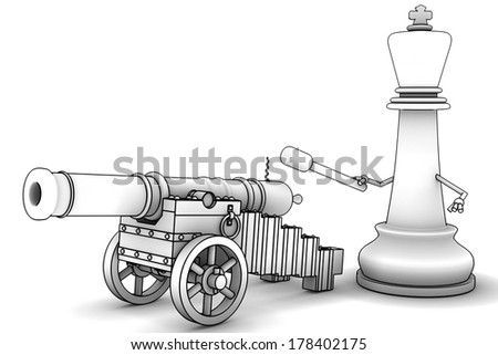 Chess King Ancient cannon on wheels. isolated white background. 3d - stock photo