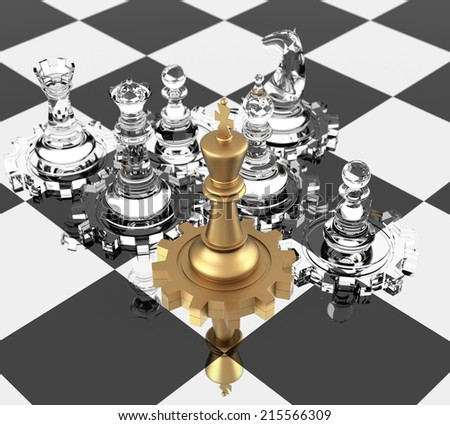 Chess King and gears, signifying leadership. Three Dimensional rendering. - stock photo
