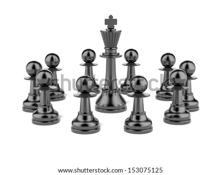 Chess king and pawn - stock photo