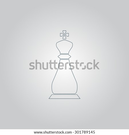 Chess king. Flat web icon or sign isolated on grey background. Collection modern trend concept design style  illustration symbol - stock photo