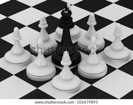Chess King is surrounded by Pawns - stock photo