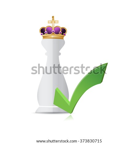 Chess king piece and approval check mark over a white background - stock photo