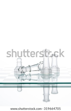 Chess King Queen Pawn,business fight Winning Concepts, play game - stock photo
