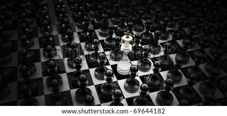 Chess king standing - game over  3D render - stock photo