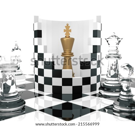 Chess King to Protect. Three Dimensional Rendering