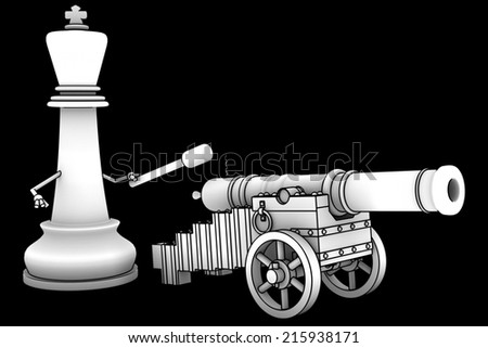 Chess King with a cannon. isolated. a black background. 3d - stock photo