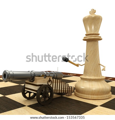 Chess King with a cannon. isolated. a white background. 3d - stock photo