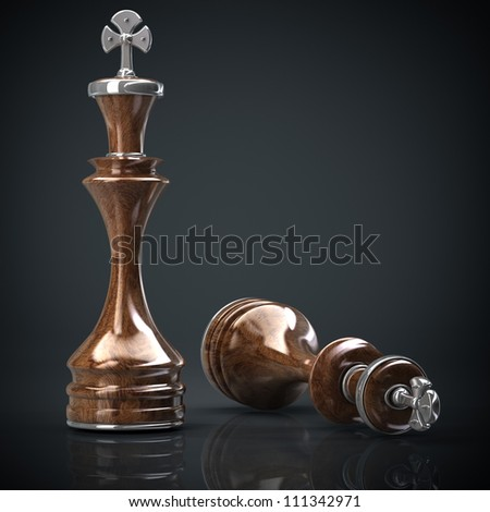 Chess king wooden High resolution. 3D image