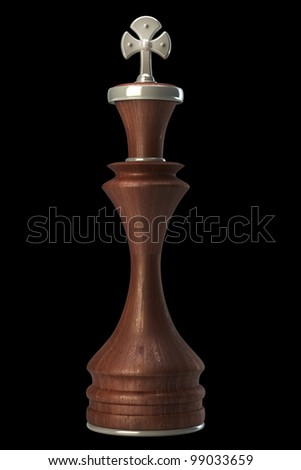 Chess king wooden isolated on black background High resolution. 3D image