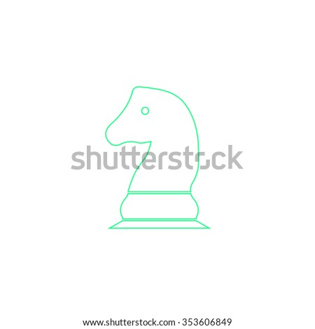 Chess knight. Outline symbol on white background. Simple line icon
