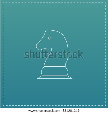 Chess knight. White outline simple pictogram on blue background. Line icon