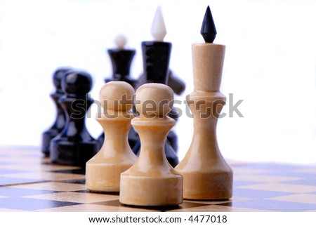 chess-men black and white on  chess board