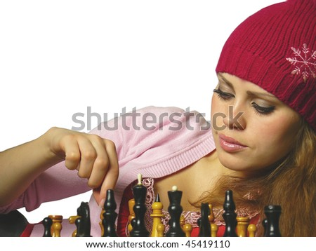 Chess of game of the girl on a white background - stock photo