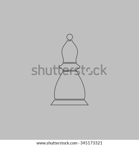 Chess officer. Flat outline icon on grey background - stock photo