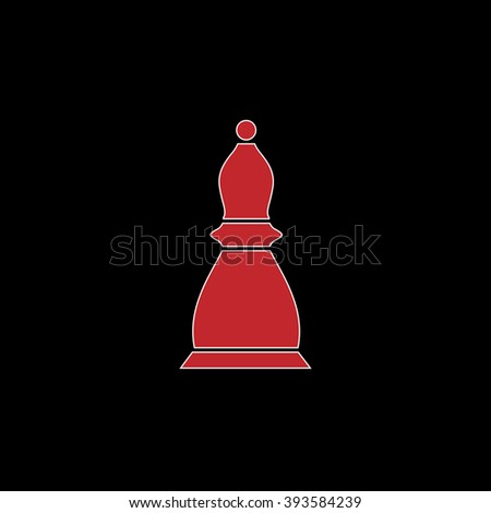 Chess officer. flat symbol pictogram on black background. red simple icon with white stroke - stock photo