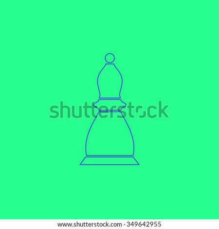 Chess officer. Simple outline illustration icon on green background - stock photo