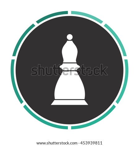 Chess officer. White circle button on black background - stock photo